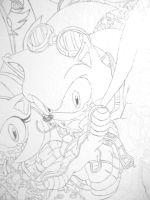 Sonic wall group painting sonic by NamineEveningLight