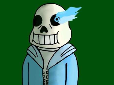 Sans and his glowing eye by barnowlgurl23