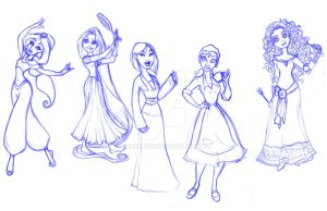 The Disney Princesses by Asher-Bee