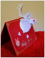 Reindeer trophy Christmas card by Coccis