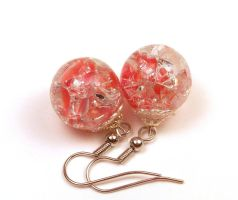 Red Coral Fried Marble Earrings by annjepsen