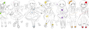 { Request } - Magical Girl Concept Sketches by Sharmander-chama