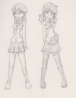 Schoolgirls insomnia sketch by G4MM43T4