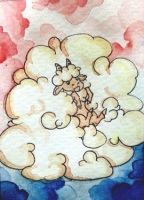 Wolkenschaf 'Fly' (ACEO) by AlvaSeneca