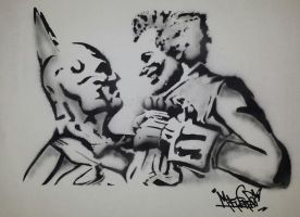 Batman VS Joker - Stencil airbrush by MrFreeDeviant