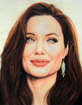 Angelina Jolie Colored Portrait by anyus