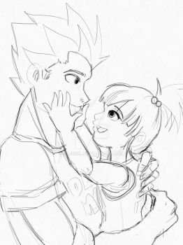 Vegeta and his little girl by ssjgirl