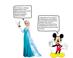 Mickey Congratulating Queen Elsa by darthraner83