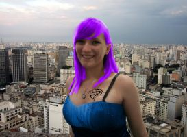 Purple haired Jenna Giantess by OmegaHawke