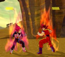 Showdown of the Super Saiyan Gods by Nassif9000