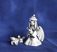 Little Winter Angel and sleigh by vavaleff