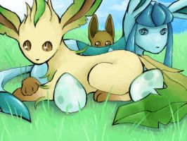 Leafeon and Glaceon by teraphim