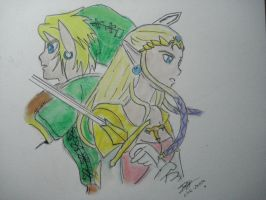 link and zelda by twinkelsparky1