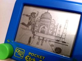 Kristina at the Taj Mahal Etch by bryanetch