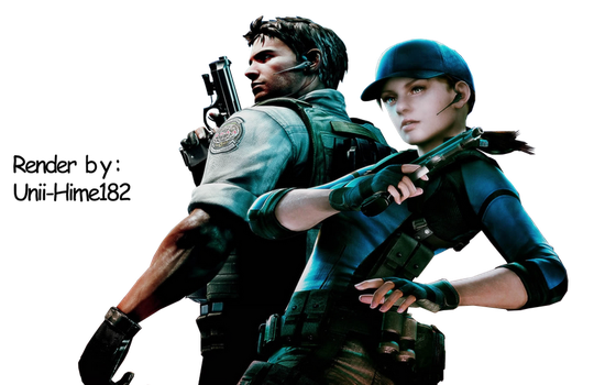 Render Chris and Jill resident evil 5 by Unii-Hime182