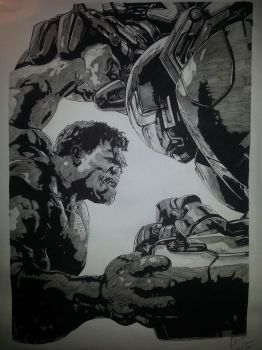 Iron-man Vs Hulk by Emmris-Dessin