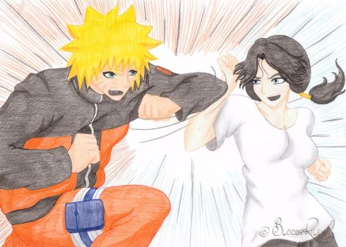 Sparring - Naruto and DBZ- Xover by BloodyRiley