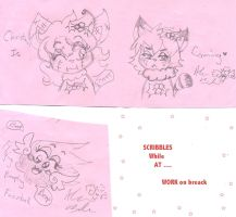 Scribbles Pink Paper  by Kittychan2005