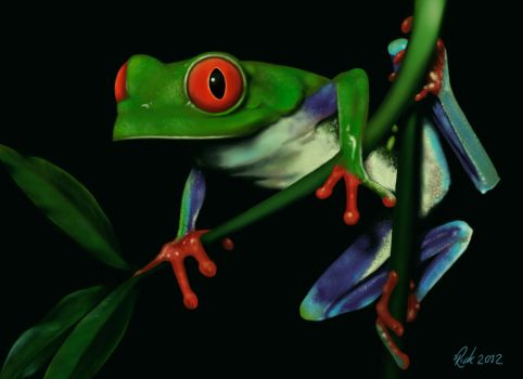 Green Tree Frog (Digital Painting) by Rick-Lilley