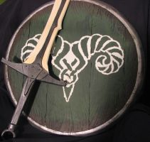 Skyrim Markarth Shield And Dragonbone Sword by NerdCarny