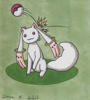 A wild Kyubey has appeared by BlueMoon89