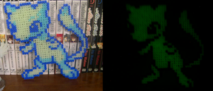 Shiny Mew Perler Beads - Glow in the Dark by Amity-And-Sorrow