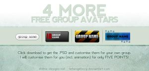 4 MORE FREE group avatars by TehAngelsCry