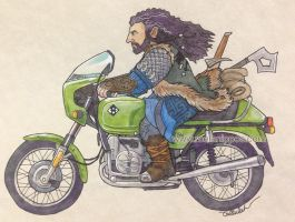 Thorin on a motorbike by melanippos