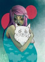 Girl with cat by Kindoffreak