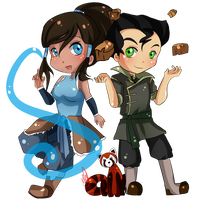 [ Paypal commission ] Korra + Bolin (and Pabu!) by KitsuneRenaChan