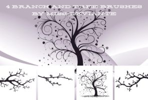 4 BRANCH AND TREE BRUSHES by Miss-deviantE