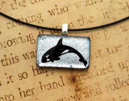 Killer Whale Fused Glass Mini Pendant by FusedElegance