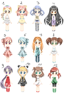 OC Adoptables SET 1 ALL SOLD by Amai--Kiss
