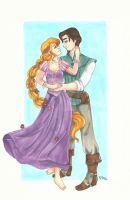 Rapunzel and Flynn Rider by chelleface90