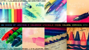 Icons - Writing Utensils by lilbrokenangel