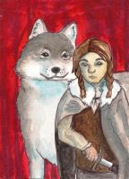 Arya Stark and Nymeria by Bewildermunster