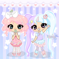 Candie and Kiana ~AT by SprinkleBunny