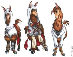 Assassin Llamas by SpazoidBunny