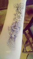 Old daisies withering on pale ivory by ciphersilva