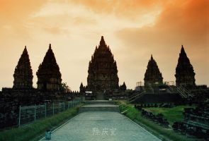 Sunset in Prambanan Temple by thesaintdevil