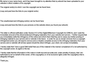 DMCA Copyright Violation Form Sample by TheArt0fMe