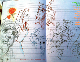 Sketches of Belle and Beast by BlueIrisArt