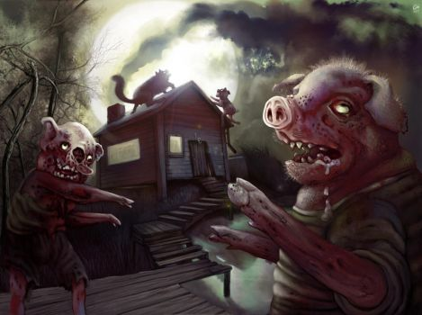 The Three Little Zombie Pigs by TheSolitaryReaper