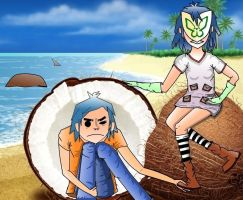 Noodle, 2D and Russel on Beach by Natashaaaaa