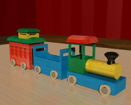Wood toy train by Silver-Shadow-Light