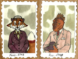 1940's Badges -- Foxy + Rez by Geistlicher