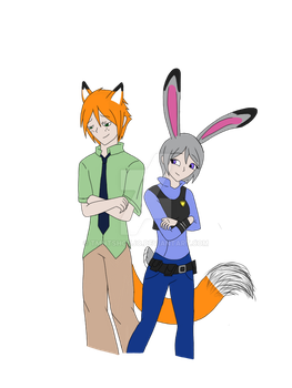 Nick Wilde and Judy Hopps [Gijin-ka] by TMNTShoujo