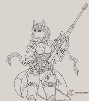 Dutchess NCR Armor: Line Art by RomenusWolf
