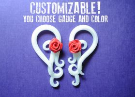 Lace and Roses Gauged Earrings by minionized
