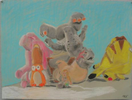 Stuffed Animals in a Pile by MikeWeasel
